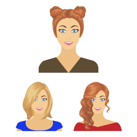 Avatar e faccia cartoon icone nella raccolta di set per il design. Un'illustrazione web delle azione di simbolo di bitmap di aspetto della persona. Archivio Fotografico