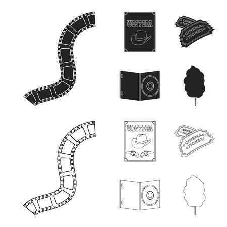 Western cinema, tickets, sweet cotton wool, film on DVD.Filmy and cinema set collection icons in black,outline style bitmap symbol stock illustration .