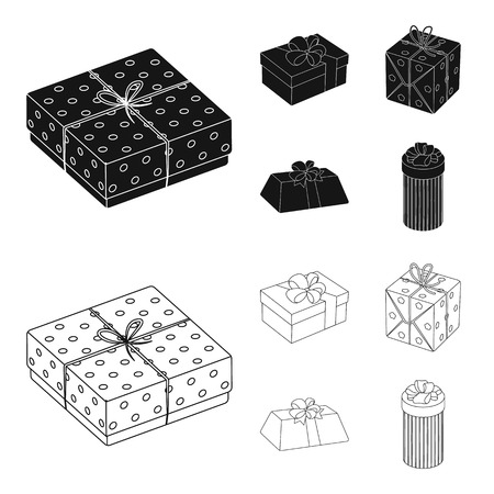Gift box with bow, gift bag.Gifts and certificates set collection icons in black,outline style bitmap symbol stock illustration .
