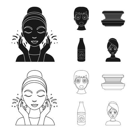 Face mask, solarium, bottle ts lasenom, pimples on face. Skin Care set collection icons in black,outline style bitmap symbol stock illustration web.