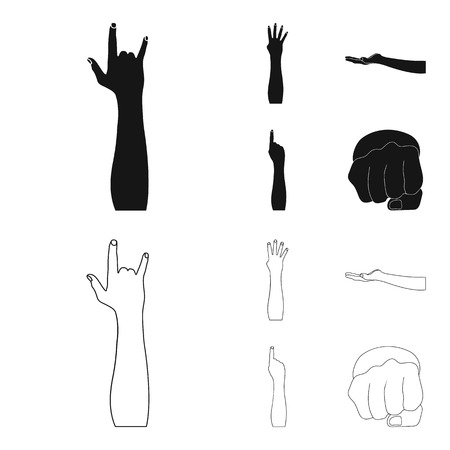 Sign Language black,outline icons in set collection for design.Emotional part of communication bitmap symbol stock web illustration. Stockfoto
