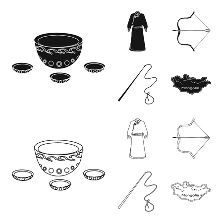 .mongol dressing gown, battle bow, theria on the map, Urga, Khlyst. Mongolia set collection icons in black,outline style bitmap symbol stock illustration web.