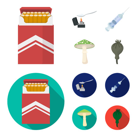 Cigarettes, a syringe, a galoyucinogenic fungus, heroin in a spoon.Drug set collection icons in cartoon,flat style bitmap symbol stock illustration web.