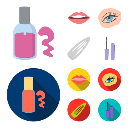 Nail polish, tinted eyelashes, lips with lipstick, hair clip.Makeup set collection icons in cartoon,flat style bitmap symbol stock illustration web.