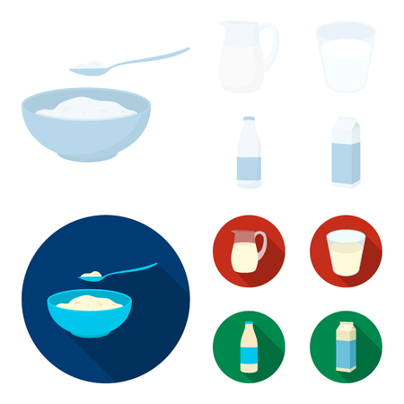 Bowl of cottage cheese, a glass, a bottle of kefir, a jug. Moloko set collection icons in cartoon,flat style bitmap symbol stock illustration web.