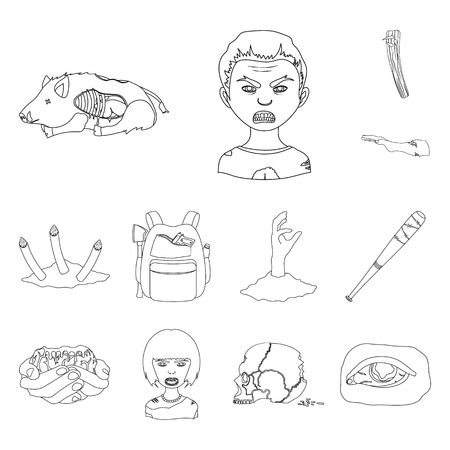 Zombies and Attributes outline icons in set collection for design. Dead man bitmap symbol stock web illustration. Фото со стока