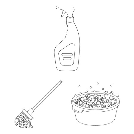 Cleaning and maid outline icons in set collection for design. Equipment for cleaning vector symbol stock web illustration. Ilustración de vector