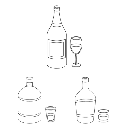 Types of alcohol outline icons in set collection for design. Alcohol in bottles vector symbol stock web illustration.  イラスト・ベクター素材