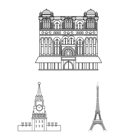 Sights of different countries outline icons in set collection for design. Famous building vector symbol stock web illustration.