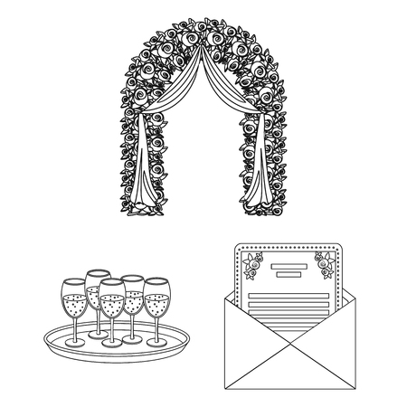 Event Organisation outline icons in set collection for design.Celebration and Attributes vector symbol stock web illustration. Vector Illustration