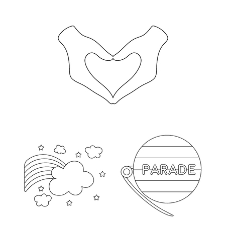 Gay and lesbian outline icons in set collection for design.Sexual minority and attributes vector symbol stock web illustration.