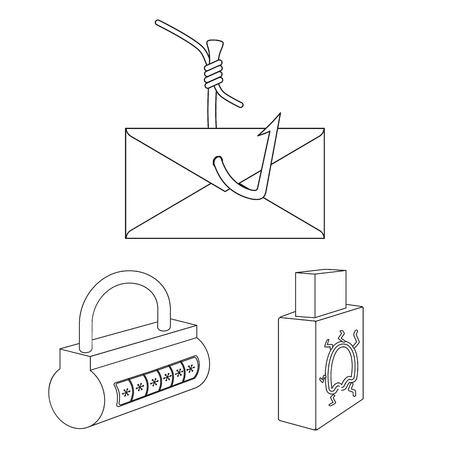 Hacker and hacking outline icons in set collection for design. Hacker and equipment vector symbol stock web illustration.