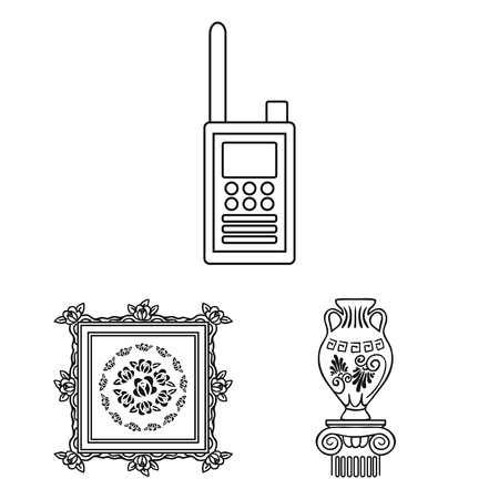 Museum and gallery outline icons in set collection for design. Storage and exhibition of showpiece vector symbol stock web illustration. Vector Illustration