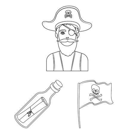 Pirate, sea robber outline icons in set collection for design. Treasures, attributes vector symbol stock web illustration. Illusztráció