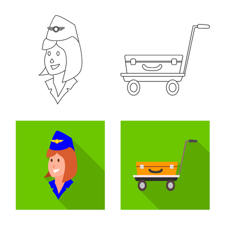 Vector illustration of airport and airplane icon. Collection of airport and plane vector icon for stock. Illustration