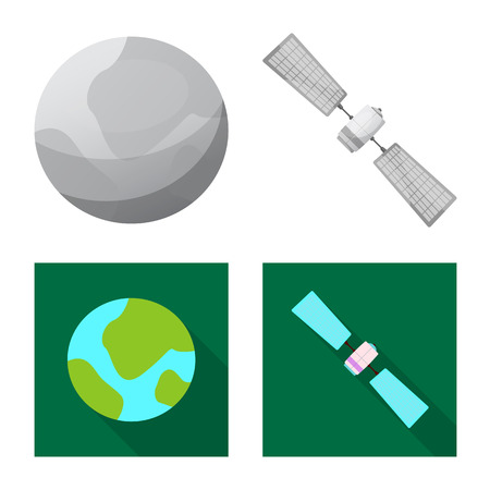 Vector illustration of mars and space sign. Set of mars and planet stock symbol for web. Illustration