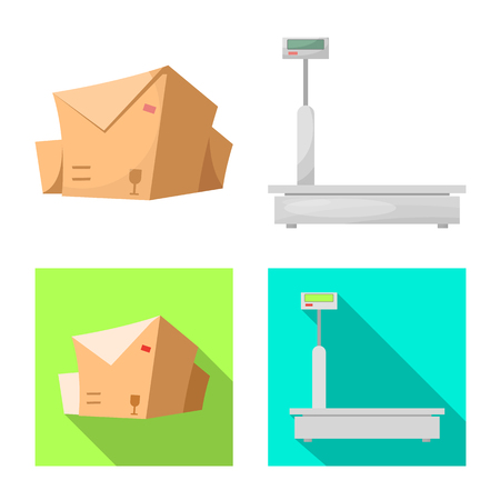 Vector design of goods and cargo sign. Set of goods and warehouse stock symbol for web. Ilustracja