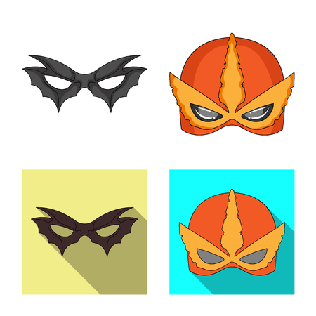 Vector illustration of hero and mask icon. Set of hero and superhero vector icon for stock.