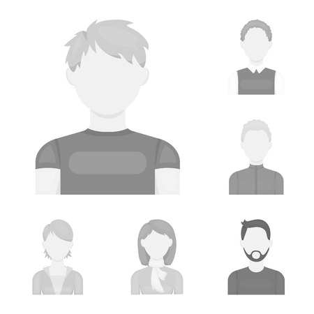 Avatar and face monochrome icons in set collection for design. A person s appearance vector symbol stock web illustration.