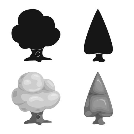 Isolated object of tree and nature symbol. Set of tree and crown vector icon for stock.