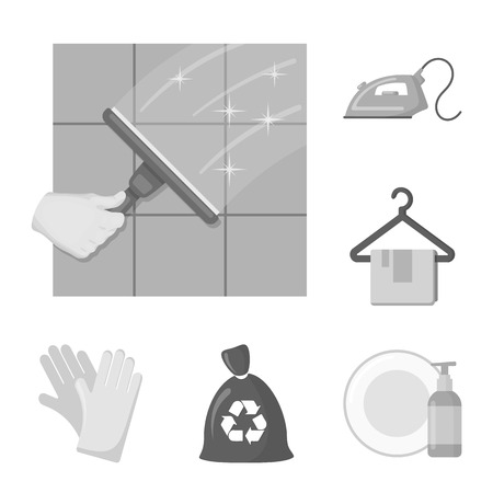 Cleaning and maid monochrome icons in set collection for design. Equipment for cleaning vector symbol stock web illustration.