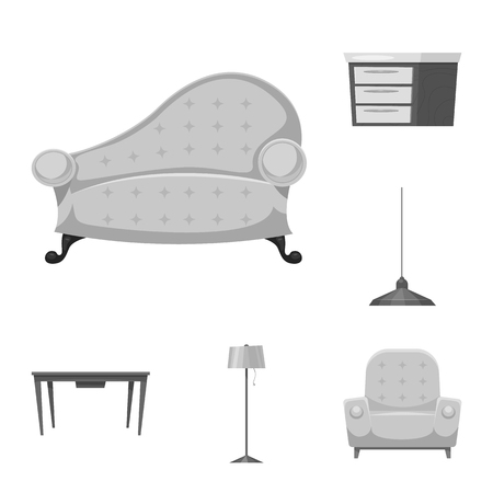 Isolated object of furniture and apartment icon. Set of furniture and home vector icon for stock. Stock Illustratie