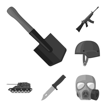 Army and armament monochrome icons in set collection for design. Weapons and equipment vector symbol stock web illustration.