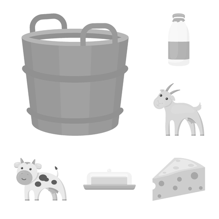 Milk product monochrome icons in set collection for design.Milk and food vector symbol stock web illustration.