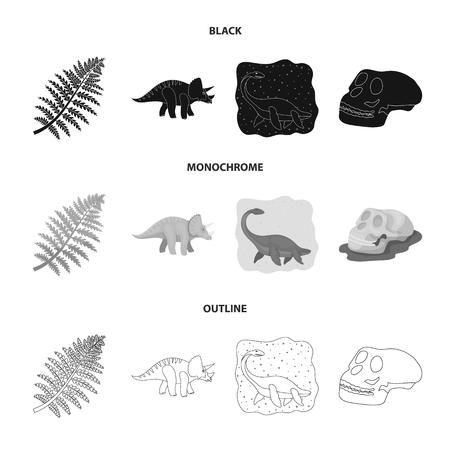 Sea dinosaur,triceratops, prehistoric plant, human skull. Dinosaur and prehistoric period set collection icons in black,monochrome,outline style bitmap symbol stock illustration web.