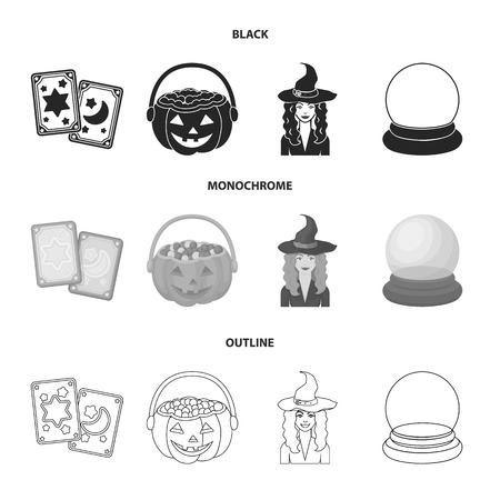 Tarot cards, holiday halloween, magician in a hat, crystal ball. Black and white magic set collection icons in black,monochrome,outline style bitmap symbol stock illustration web.