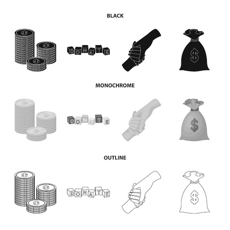 A pile of coins for donations, colored cubes with an inscription, a handshake, a bag of money for donations. Charity and donation set collection icons in black,monochrome,outline style bitmap symbol stock illustration .