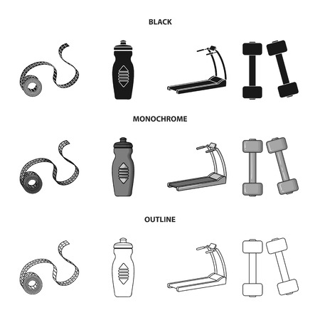 Measuring tape, water bottle, treadmill, dumbbells. Fitnes set collection icons in black,monochrome,outline style bitmap symbol stock illustration .
