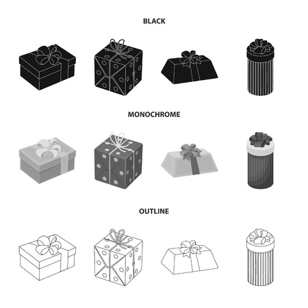 Gift box with bow, gift bag.Gifts and certificates set collection icons in black,monochrome,outline style bitmap symbol stock illustration .