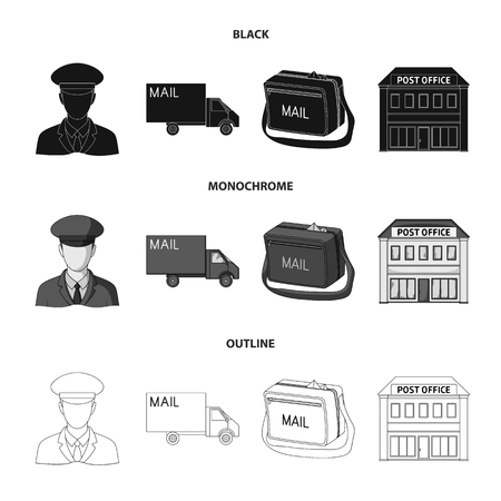 The postman in uniform, mail machine, bag for correspondence, postal office.Mail and postman set collection icons in black,monochrome,outline style bitmap symbol stock illustration .