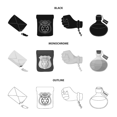 The detective badge, the handcuff on the criminal hand, the stump of the finger in the bag, the flask with the poison. Crime and detective set collection icons in black,monochrome,outline style bitmap symbol stock illustration web. Stock Photo
