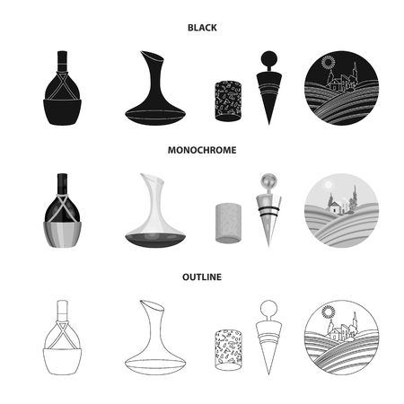 A bottle of wine in a basket, a gafine, a corkscrew with a cork, a grape valley. Wine production set collection icons in black,monochrome,outline style bitmap symbol stock illustration web. Foto de archivo - 108854399