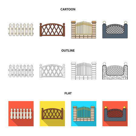 A fence of metal and bricks,wooden palisade. A different fence set collection icons in cartoon,outline,flat style bitmap symbol stock illustration web.