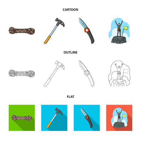Climber on conquered top, coil of rope, knife, hammer.Mountaineering set collection icons in cartoon,outline,flat style bitmap symbol stock illustration . 写真素材