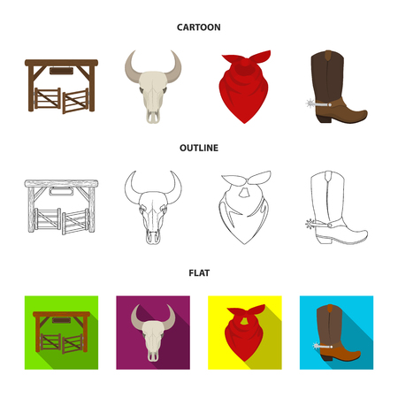 Gates, a bull skull, a scarf around his neck, boots with spurs. Rodeo set collection icons in cartoon,outline,flat style bitmap symbol stock illustration . Stock Photo