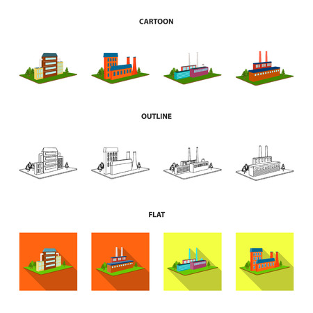 Processing factory,metallurgical plant. Factory and industry set collection icons in cartoon,outline,flat style isometric bitmap symbol stock illustration . Stock Photo