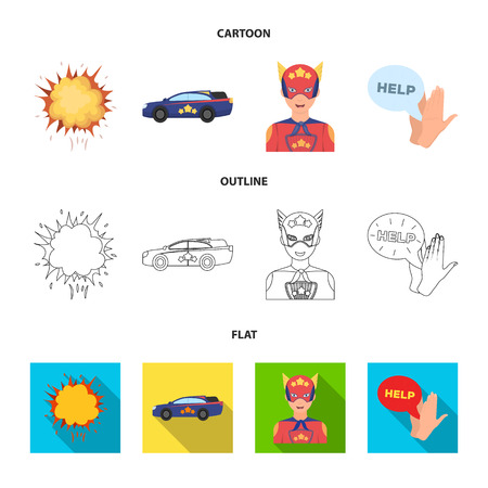 Explosion, fire, smoke and other web icon in cartoon,outline,flat style. superforce, cry, icons in set collection. Stock Photo