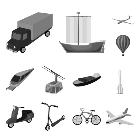 Different types of transport monochrome icons in set collection for design. Car and ship bitmap symbol stock  illustration.
