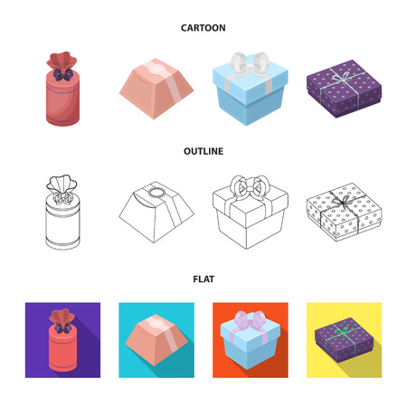 Gift box with bow, gift bag.Gifts and certificates set collection icons in cartoon,outline,flat style bitmap symbol stock illustration .