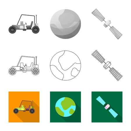 Isolated object of mars and space logo. Set of mars and planet stock vector illustration.
