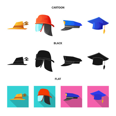 Vector illustration of headgear and cap sign. Set of headgear and accessory stock vector illustration. Vectores