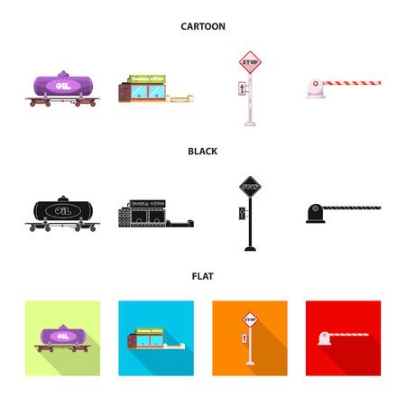 Vector illustration of train and station symbol. Collection of train and ticket vector icon for stock. Illustration