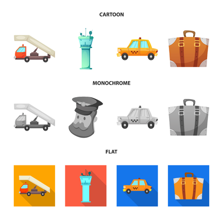 Vector illustration of airport and airplane sign. Set of airport and plane vector icon for stock. Иллюстрация
