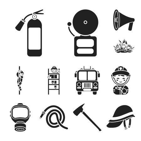 Feuerwehr schwarze Symbole in Set-Sammlung für Design. Feuerwehrmänner und Ausrüstungsvektorsymbolvorratillustration. Vektorgrafik