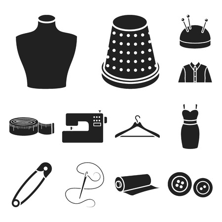 Atelier and sewing black icons in set collection for design. Equipment and tools for sewing vector symbol stock illustration. Vektorgrafik