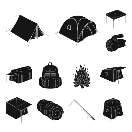 Different kinds of tents black icons in set collection for design. Temporary shelter and housing vector symbol stock  illustration. Illustration